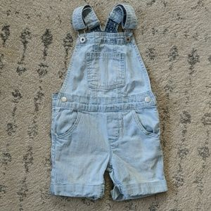 Light wash girls overall shorts